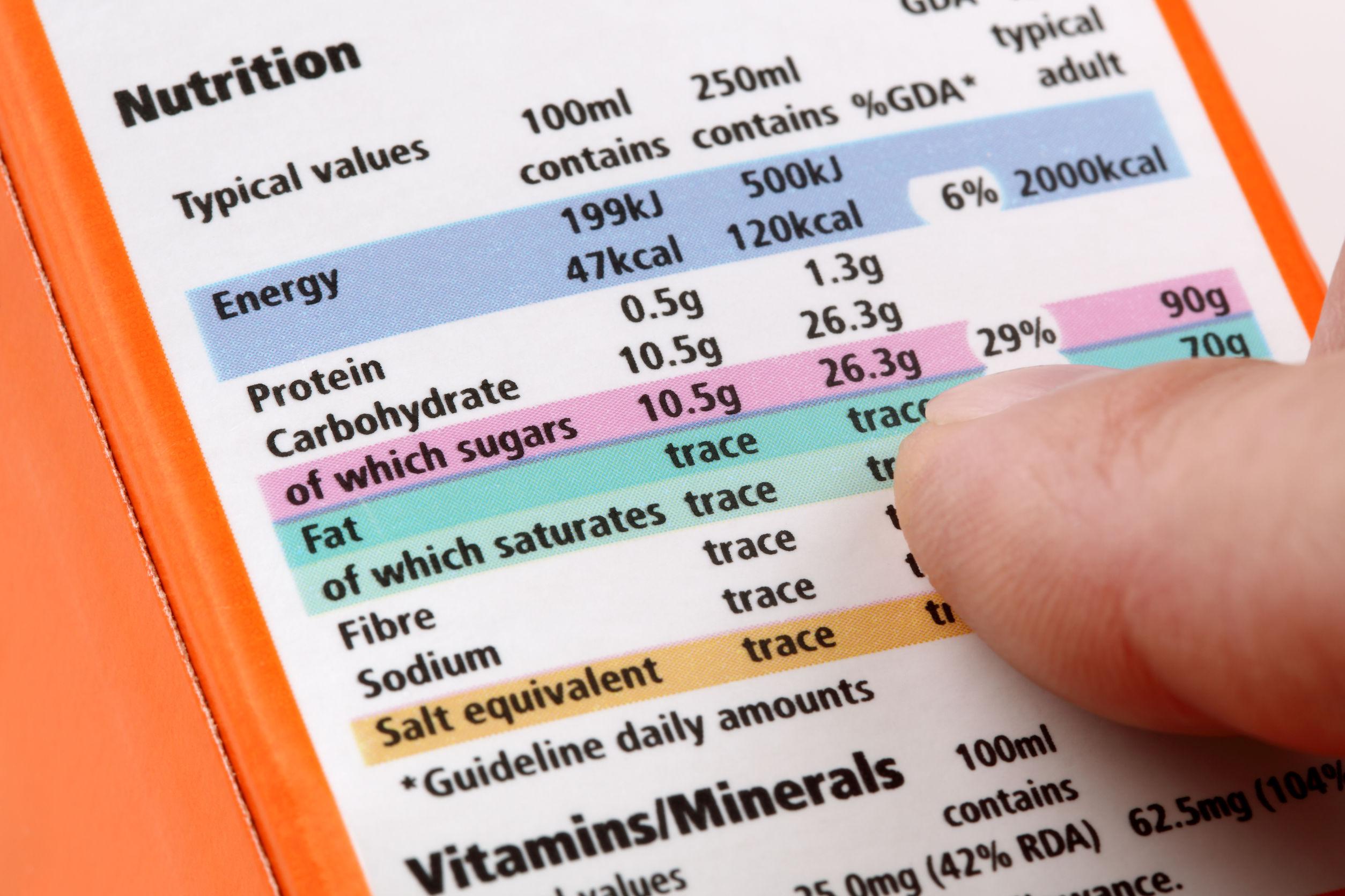 tener en cuenta valores de la tabla nutricional